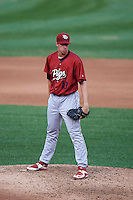 Lehigh Valley IronPigs pitcher Aaron Nola (10) looks in for the sign during a game against the Rochester Red Wings on July 4, 2015 at Frontier Field in Rochester, New York.  Lehigh Valley defeated Rochester 4-3.  (Mike Janes/Four Seam Images)