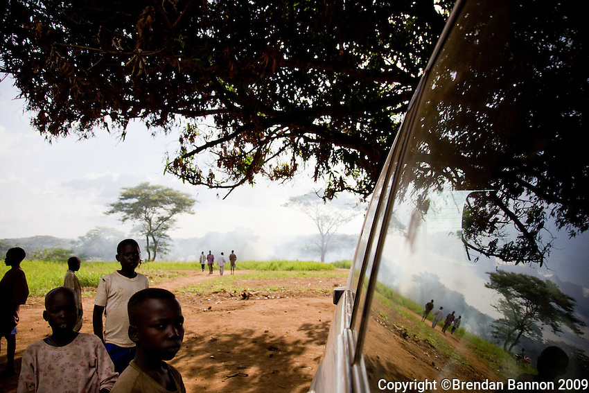 A group of refugees in the moments after they arrived at Nyori refugee camp in South Sudan. They fled after LRA attacked neighboring villages in South Sudan In June 2009.