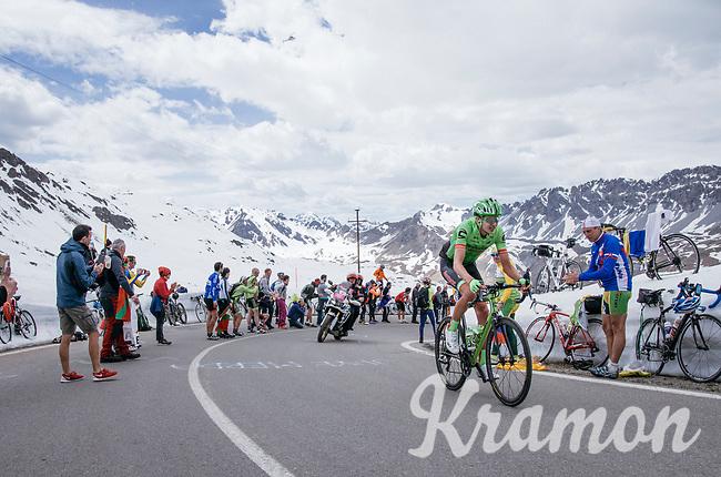 Joe Dombrowski  (USA/Cannondale-Drapac) up the Passo dello Stelvio (alt: 2758m)<br /> <br /> Stage 16: Rovett › Bormio (222km)<br /> 100th Giro d'Italia 2017