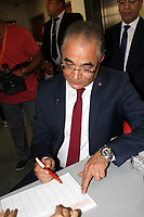 The President of Machrouu Tounes Mohsen Marzouk arrives to the Independent High Authority for Elections (ISIE) headquarter to apply his candidacy for the Tunisia's presidential election in Tunis on August 9, 2019.<br /> <br /> PHOTO : Agence Quebec Presse - jdidi wassim