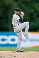 Scranton/Wilkes-Barre RailRiders starting pitcher Justus Sheffield (4) delivers a pitch during a game against the Syracuse Chiefs on June 14, 2018 at NBT Bank Stadium in Syracuse, New York.  Scranton/Wilkes-Barre defeated Syracuse 9-5.  (Mike Janes/Four Seam Images)
