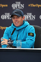 170719 | The 148th Open - Wednesday Practice<br /> <br /> Rory McIlroy of Northern Ireland at the media conference during practice for the 148th Open Championship at Royal Portrush Golf Club, County Antrim, Northern Ireland. Photo by John Dickson - DICKSONDIGITAL