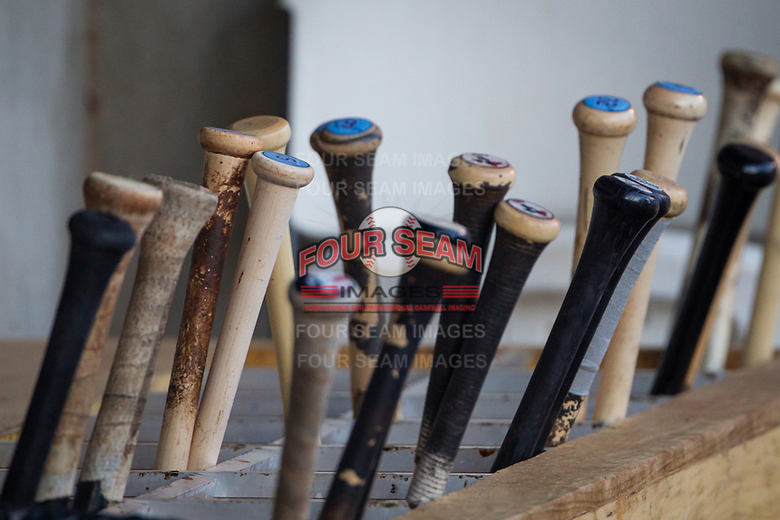Baseball bats in the dugout during the Texas League game between the Tulsa Drillers and the Frisco RoughRiders at ONEOK field on August 15, 2014 in Tulsa, Oklahoma  The RoughRiders defeated the Drillers 8-2.  (William Purnell/Four Seam Images)