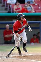 Dillon Hazlett #12 of the High Desert Mavericks bats against the Modesto Nuts at Stater Bros. Stadium on June 29, 2013 in Adelanto, California. Modesto defeated High Desert, 7-2. (Larry Goren/Four Seam Images)