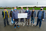 Ger McDonald presenting a cheque for €2,300 to the Tralee Mens Shed on Tuesday from his Covid swim fundraiser. Front: Ger McDonald and Tony Moriarty. Back l to r: Karl Spangler, Denis Keane, Tony McMahon, Liam Gunn and John Goddard.