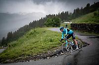 Jakob Fuglsang (DEN/Astana - Premier Tech) descending the Col du Pré (HC/1748m) towards the Barrage de Roselend in, yet again, grim conditions.<br /> <br /> Stage 9 from Cluses to Tignes (145km)<br /> 108th Tour de France 2021 (2.UWT)<br /> <br /> ©kramon