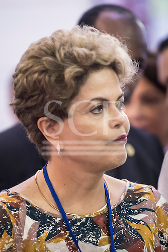 Brazilian president Dilma Rousseff looks apprehensive while visiting the craft fair before the opening ceremony at the first ever International Indigenous Games, in the city of Palmas, Tocantins State, Brazil. Photo © Sue Cunningham, pictures@scphotographic.com 23rd October 2015