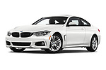 Stock pictures of low aggressive front three quarter view of 2020 BMW 4-Series 440i-M-Sport Door Coupe Low Aggressive