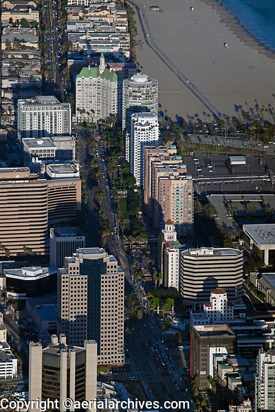 aerial photograph of the high rises in downtown Long Beach  along West Ocean Blv., Los Angeles County, California