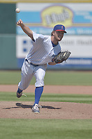 Michael Wagner (33) of the Iowa Cubs throws a  pitch against the New Orleans Zephyrs at Principal Park on April 23, 2015 in Des Moines, Iowa.  The Zephyrs won 9-2.  (Dennis Hubbard/Four Seam Images)