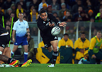 New Zealand's Aaron Smith passes during the Bledisloe Cup rugby match between the New Zealand All Blacks and Australia Wallabies at Eden Park in Auckland, New Zealand on Saturday, 7 August 2021. Photo: Dave Lintott / lintottphoto.co.nz