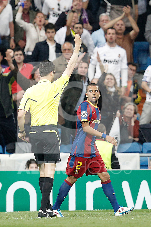 Barcelona's Daniel Alves yellow card during Champions League semifinal first match on April 27 2011...Photo: Cesar Cebolla / ALFAQUI