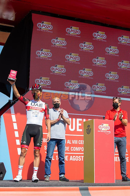 Rafal Majka (POL) UAE Team Emirates most aggressive rider from yesterday's stage at sign on before the start of Stage 16 of La Vuelta d'Espana 2021, running 180km from Laredo to Santa Cruz de Bezana, Spain. 31st August 2021.     <br /> Picture: Cxcling | Cyclefile<br /> <br /> All photos usage must carry mandatory copyright credit (© Cyclefile | Cxcling)