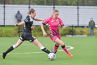 Loes Van Mullem (33) of Eendracht Aalst and Ludmila Matavkova (9) of Sporting Charleroi pictured during a female soccer game between Sporting Charleroi and Eendracht Aalst on the 8th matchday in play off 2 of the 2020 - 2021 season of Belgian Scooore Womens Super League , tuesday 18 th of May 2021 in Marcinelle , Belgium . PHOTO SPORTPIX.BE | SPP | STIJN AUDOOREN