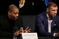 Boxer Lucian Bute, his trainer Howard Grant (L)  attend the Montreal news conference for the upcoming Badou Jack v Lucian Bute in Washington this month, Wenesday, April 6, 2016.<br /> <br /> Photo : Pierre Roussel<br /> - Agence Quebec Presse