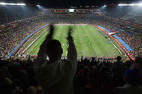 A fan cheers Brazil's third goal during a 2010 World Cup match at Ellis Park Stadium.  Chile played Brazil at Ellis Park in Johannesburg, South Africa on Monday, June 28, 2010.  Brazil defeated Chilie 3-0.