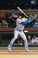 Surprise Saguaros right fielder Cavan Biggio (26), of the Toronto Blue Jays organization, at bat during an Arizona Fall League game against the Scottsdale Scorpions at Scottsdale Stadium on October 15, 2018 in Scottsdale, Arizona. Surprise defeated Scottsdale 2-0. (Zachary Lucy/Four Seam Images)