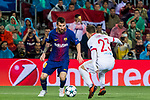 Lionel Andres Messi (l) of FC Barcelona competes for the ball with Leonardo Koutris of Olympiacos FC during the UEFA Champions League 2017-18 match between FC Barcelona and Olympiacos FC at Camp Nou on 18 October 2017 in Barcelona, Spain. Photo by Vicens Gimenez / Power Sport Images