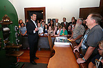 Gov. Brian Sandoval speaks at a ceremony marking the beginning of production of the third medallion in the four-part Sesquicentennial series, at the Nevada State Museum in Carson City, Nev., on Friday, May 30, 2014. <br /> Photo by Cathleen Allison