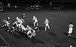 Bethel Park PA:  Offensive play with Mike Stewart 11 throwing a hook to Bruce Evanovich 80. Good blocks by the offensive line and Clark Miller 30. Others in the photo:  Chip Huggins 32, Bob Hensler 77, Joe Barrett 75, Don Troup 51, Dennis Franks 66.  The offense and defense did not play well in the 12-6 defeat vs Montour. Montour's quarterback, Jim Daniels, killed the Blackhawks.  Jim Daniels was played his college ball at Pitt.  The defensive unit was one of the best in Bethel Park history only allowing a little over 7 points a game.