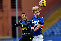 Alexis Sanchez of FC Internazionale and Morten Thorsby of UC Sampdoria compete for the ball during the Serie A football match between UC Sampdoria and FC Internazionale at stadio Marassi in Genova (Italy), January 6th, 2021. <br /> Photo Daniele Buffa/Image Sport / Insidefoto