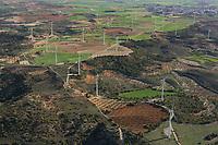 Aerial views wind farm turbines, La Mancha, near Algodor and Ocana, Toledo, Spain