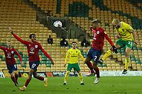 6th April 2021; Carrow Road, Norwich, Norfolk, England, English Football League Championship Football, Norwich versus Huddersfield Town; Teemu Pukki of Norwich City heads the ball towards goal