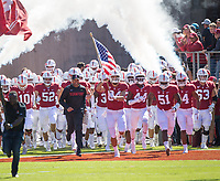 STANFORD, CA - September 15, 2018: David Shaw, Colby Parkinson, Drew Dalman, Nate Herbig, Casey Toohill at Stanford Stadium. The Stanford Cardinal defeated UC Davis, 30-10.