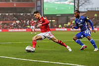 Matty Cash of Nottingham Forest and Junior Hoilett of Cardiff City during the Sky Bet Championship match between Nottingham Forest and Cardiff City at the City Ground, Nottingham, England on 30 November 2019. Photo by David Horn.