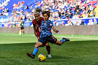 HARRISON, NJ - MARCH 08: Mana Iwabuchi #8 of Japan is defended by Rachel Daly #2 of England during a game between England and Japan at Red Bull Arena on March 08, 2020 in Harrison, New Jersey.