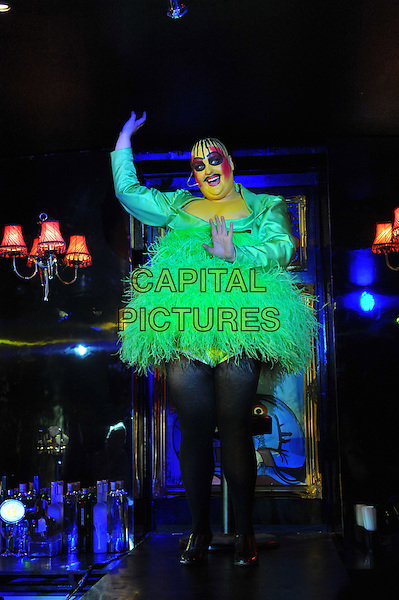 Cast.Photocall for 'Taboo - The Boy George Musical' at Brixton Club House, London, England..September 11th, 2012.actors stage performance performing full length green feathers dress make-up hands arms.CAP/CJ.©Chris Joseph/Capital Pictures.
