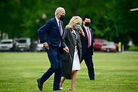 U.S. President Joe Biden and First Lady Jill Biden arrive to the White House Ellipse on Marine One after a visit to Virginia, in Washington, D.C., U.S., on Monday, May 3, 2021. Biden's $4 trillion vision of remaking the federal government's role in the U.S. economy is now in the hands of Congress, where both parties see a higher chance of at least some compromise than for the administration's pandemic-relief bill.<br /> CAP/MPI/RS<br /> ©RS/MPI/Capital Pictures