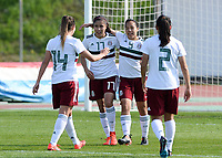 20190301 - LARNACA , CYPRUS : Mexican players pictured celebrating the goal of Charlyn Corral (9) and the 1-2 lead during a women's soccer game between Thailand and Mexico , on Friday 1 March 2019 at the GSZ Stadium in Larnaca , Cyprus . This is the second game in group B for both teams during the Cyprus Womens Cup 2019 , a prestigious women soccer tournament as a preparation on the FIFA Women's World Cup 2019 in France . PHOTO SPORTPIX.BE | DAVID CATRY