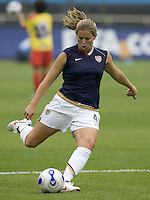 USA defender (4) Cat Whitehill during pre-game warmups. The United States (USA) and North Korea (PRK) played to a 2-2 tie during a FIFA Women's World Cup China 2007 opening round Group B match at Chengdu Sports Center Stadium, Chengdu, China, on September 11, 2007.