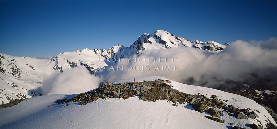 Hiker in the Southern Alps in the upper Wanganui Valley in  Westland  New Zealand.