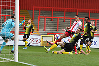 Elliott List of Stevenage FC scores the first Goal and celebrates during Stevenage vs Barrow, Sky Bet EFL League 2 Football at the Lamex Stadium on 27th March 2021