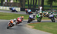 Taylor Knapp leads the field at the start of Sunday's Daytona Sportbike race at the Suzuki Big Kahuna Nationals, Virginia International Raceway, Alton, VA, August 2009. (Photo by Briain Cleary/www.bcpix.com)