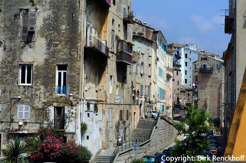 Wohnhäuser in der Altstadt in Bastia, Korsika, Frankreich
