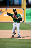 Clinton LumberKings first baseman Kristian Brito (23) during practice before a game against the West Michigan Whitecaps on May 3, 2017 at Fifth Third Ballpark in Comstock Park, Michigan.  West Michigan defeated Clinton 3-2.  (Mike Janes/Four Seam Images)