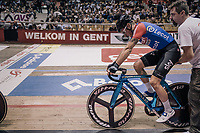 Olympic Omnium Champion Elia Viviani (ITA/Team Sky) riding his azuri/blue chromed bike around the 'Kuipke' velodrome<br /> <br /> Ghent 6day<br /> Belgium 2017