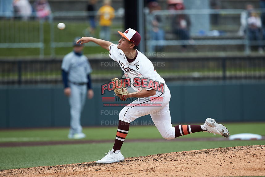 Virginia Tech Hokies starting pitcher Anthony Simonelli (34) delivers a pitch to the plate against the Georgia Tech Yellow Jackets at English Field on April 17, 2021 in Blacksburg, Virginia. (Brian Westerholt/Four Seam Images)