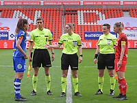 Captain Silke Vanwynsberghe (21) of AA Gent, assistant referee Alexandre Minnoy, Referee Viki De Cremer, assistant referee Ella De Vries  and captain Charlotte Cranshoff (18) of Standard pictured before a female soccer game between Standard Femina de Liege and AA Gent Ladies on the 6th matchday in play off 1 of the 2020 - 2021 season of Belgian Scooore Womens Super League , tuesday 11 th of May 2021  in Liege , Belgium . PHOTO SPORTPIX.BE   SPP   STIJN AUDOOREN