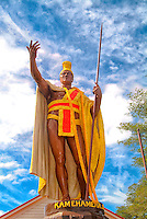 The King Kamehameha statue in Hawi, Big Island of Hawai'i.