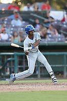 Brendon Davis (6) of the Rancho Cucamonga Quakes bats against the Inland Empire 66ers at San Manuel Stadium on July 29, 2017 in San Bernardino, California. Inland Empire defeated Rancho Cucamonga, 6-4. (Larry Goren/Four Seam Images)