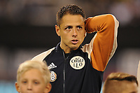 EAST RUTHERFORD, NJ - SEPTEMBER 7: Javier Hernandez #14 of Mexico during the presentation of the team during a game between Mexico and USMNT at MetLife Stadium on September 6, 2019 in East Rutherford, New Jersey.
