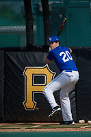 Christopher Rowell (20), from Turnersville, New Jersey, while playing for the Dodgers during the Baseball Factory Pirate City Christmas Camp & Tournament on December 29, 2017 at Pirate City in Bradenton, Florida.  (Mike Janes/Four Seam Images)