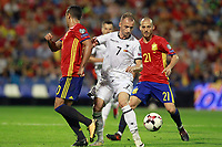 Spain's Marco Asensio (l) and David Jimenez Silva (r) and Albania's Ansi Agolli during FIFA World Cup 2018 Qualifying Round match. October 6,2017.(ALTERPHOTOS/Acero) /NortePhoto.com /NortePhoto.com