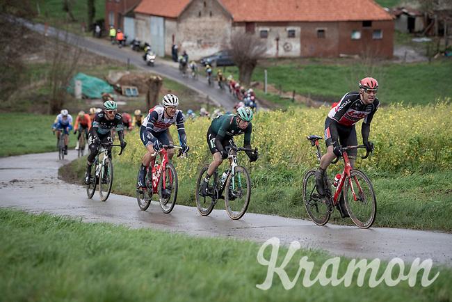 (eventual race winner) Jasper Stuyven (BEL/Trek-Segafredo) in a front group up the Rekelberg<br /> <br /> 75th Omloop Het Nieuwsblad 2020 (1.UWT)<br /> Gent to Ninove (BEL): 200km<br /> <br /> ©kramon