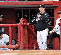 Head coach Ray Tanner (1) of the South Carolina Gamecocks prior to a game against the Clemson Tigers on March 3, 2012, at Carolina Stadium in Columbia, South Carolina. South Carolina won, 9-6. (Tom Priddy/Four Seam Images)