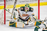 19 January 2018: University of Vermont Catamount Goaltender Stefanos Lekkas, a Sophomore from Elburn, IL, gives up the game-timing third period goal to University of Massachusetts Lowell Riverhawks Forward Connor Sodergren, a Freshman from Tewskbury, MA, at Gutterson Fieldhouse in Burlington, Vermont. The Riverhawks rallied to defeat the Catamounts 3-2 in overtime of their Hockey East matchup. Mandatory Credit: Ed Wolfstein Photo *** RAW (NEF) Image File Available ***